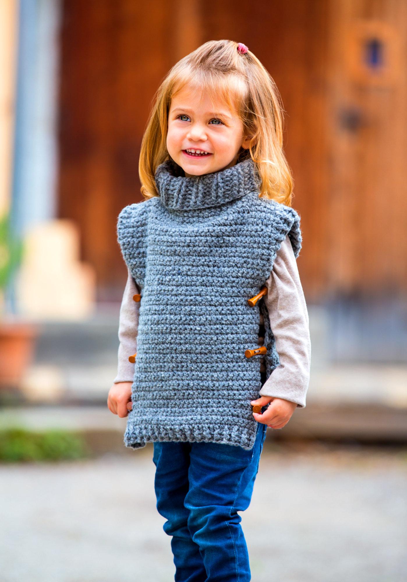 Warmer Tweed-Poncho für Kinder
