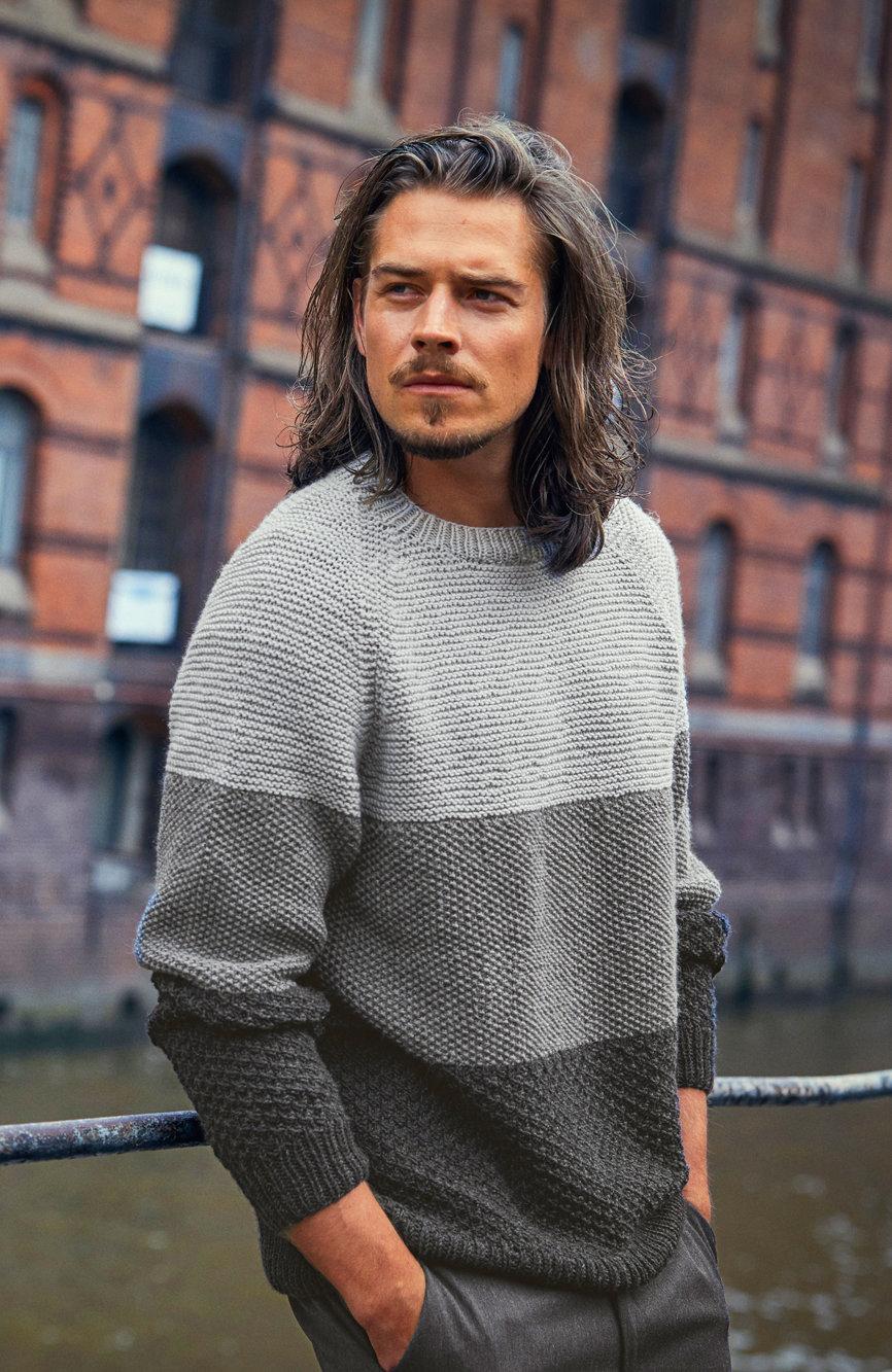 Herren-Pullover in Muster-Blockstreifen