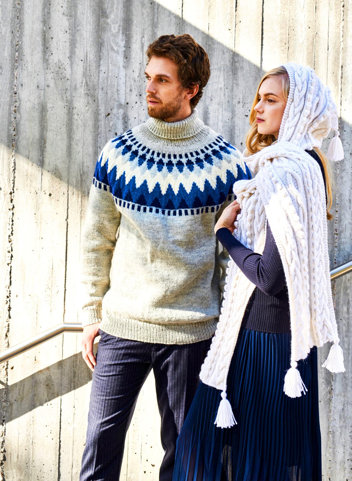 Skandinavischer Herrenpullover mit Rundpasse