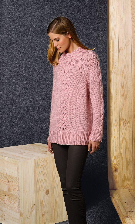 Damen-Pullover mit verschiedenen Zopf-Mustern