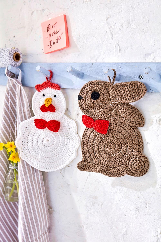 Topflappen-Set aus Hase und Huhn