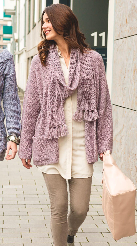 Verschlusslose Damenjacke mit Schal