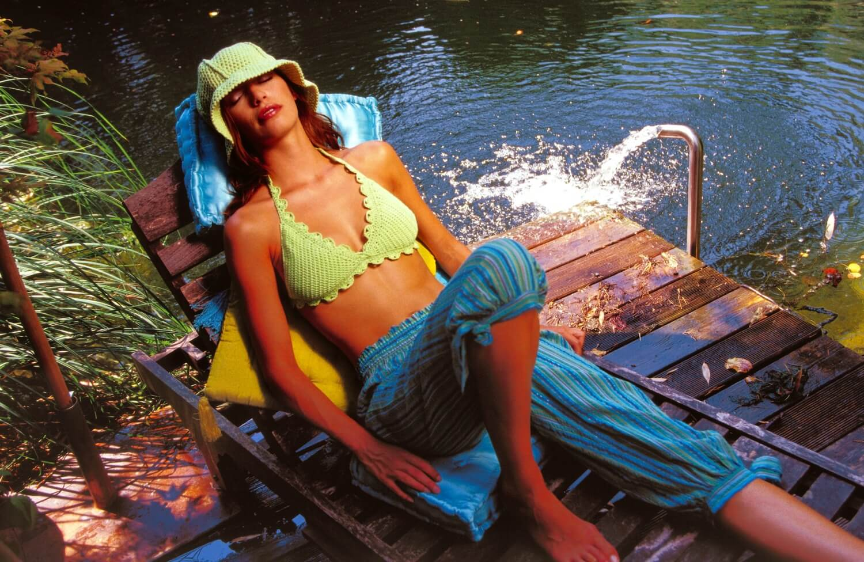 Gehäkeltes Bikini-Top mit Bogenkante
