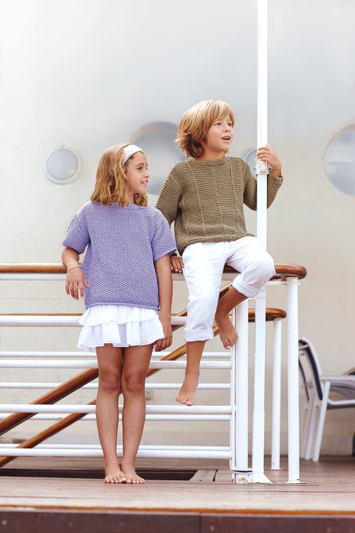 Kurzarm-Pulli für Kinder im Muster-Mix