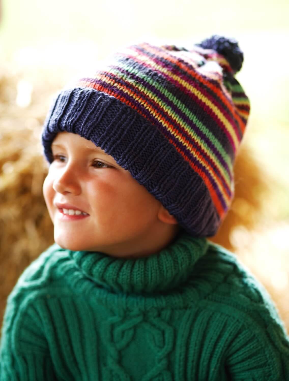 Ringelmütze mit Bommel für Kinder