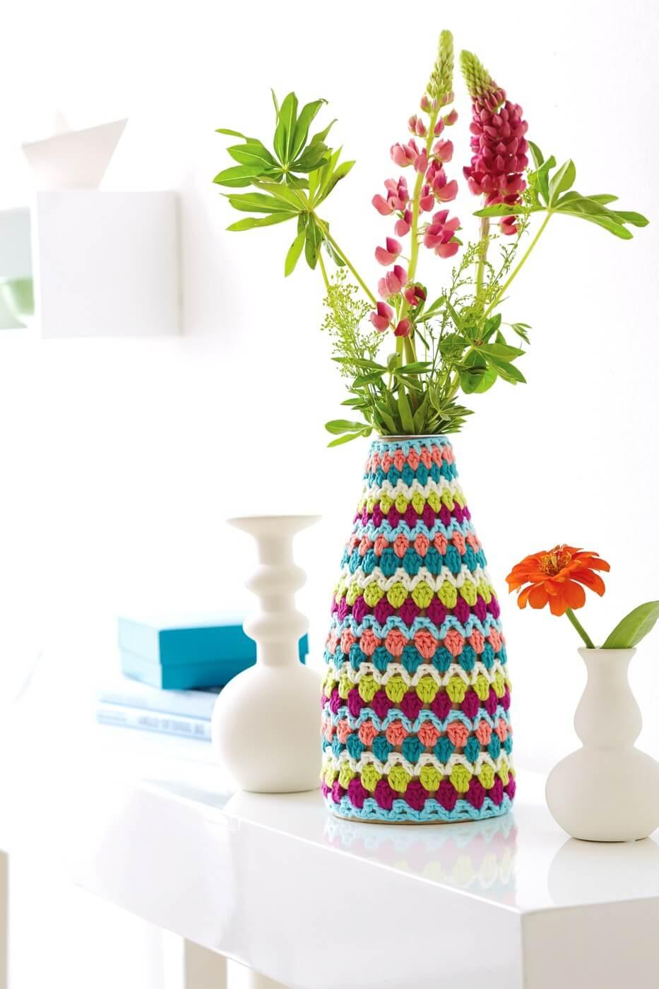 Gehäkelter Vasenbezug