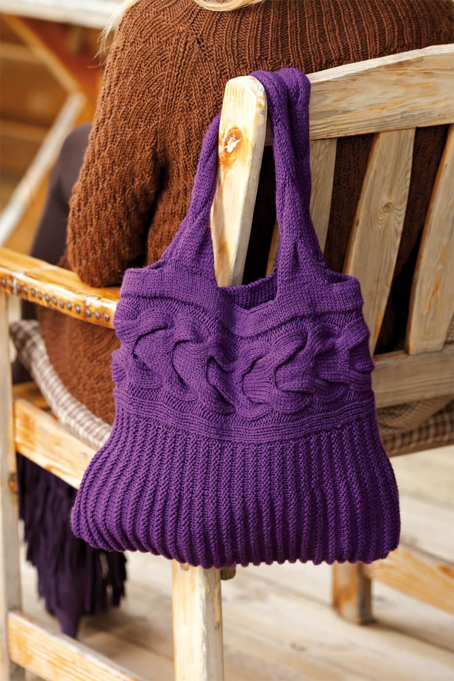 Stricktasche mit breitem Zopf