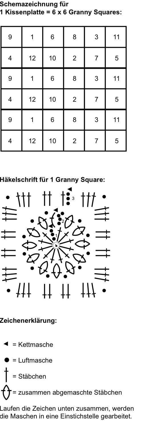 Schwarzes Kissen aus Granny Squares